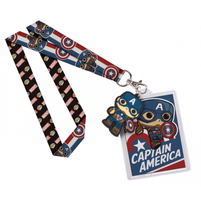 Marvel Comics POP! Lanyard with Rubber Keychain Captain...