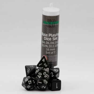 Blackfire Dice - 16mm Role Playing Dice Set - Black (7 Dice)