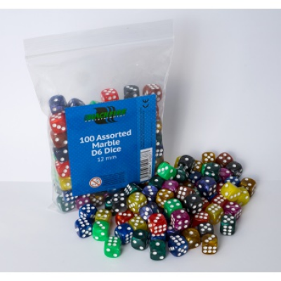 Blackfire Dice - Assorted Marble D6 Dice 12 mm