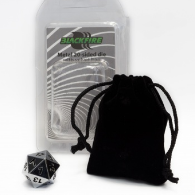 Blackfire Dice - D20 Metal Spindown with velvet bag Silver