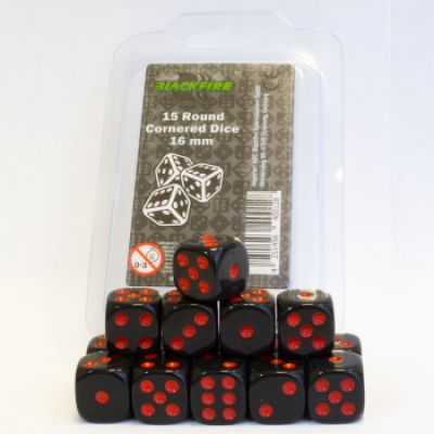 Blackfire Dice - 16mm D6 Dice Set - Black with Red Dots...