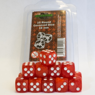 Blackfire Dice - 16mm D6 Dice Set - Marbled Pearlized Red...