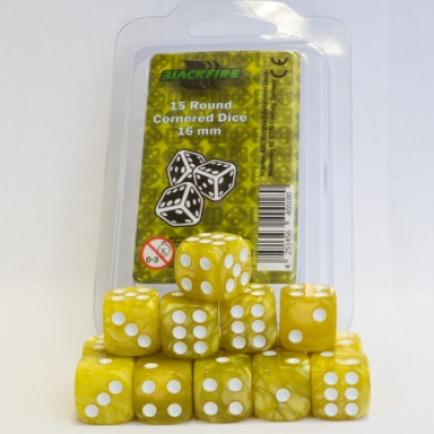 Blackfire Dice - 16mm D6 Dice Set - Marbled Yellow (15 Dice)