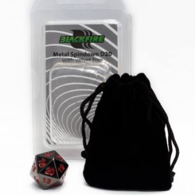 Blackfire Dice - D20 Metal Spindown with velvet bag Black