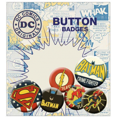 DC Comics Ansteck-Buttons 6er-Pack Retro