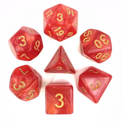 HD Dice - Pearl Dice Set (7 pcs), Red (Gold Font)