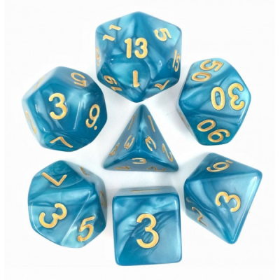 HD Dice - Pearl Dice Set (7 pcs), Lake Blue (Gold Font)
