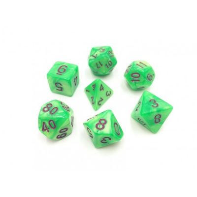 HD Dice - Pearl Dice Set (7 pcs), Green (Purple Font)