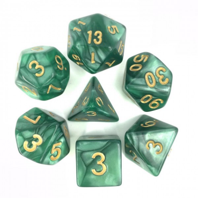 HD Dice - Pearl Dice Set (7 pcs), Green (Gold Font)