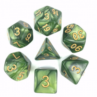 HD Dice - Pearl Dice Set (7 pcs), Grass Green