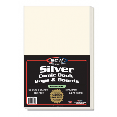 BCW Resealable Silver Comic Bags & Boards (50 Stück)