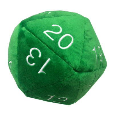 UP - Dice - Jumbo D20 Novelty Dice Plush in Green with...