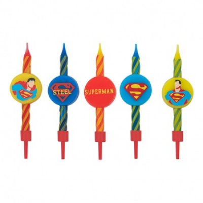 DC Comics Set of 10 Birthday style Candles Superman logo