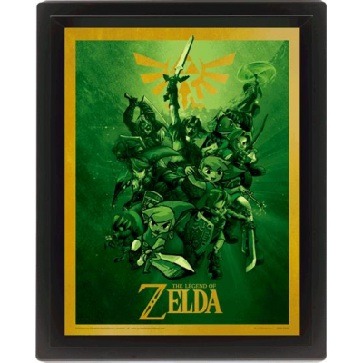 3D Effect Poster - Link 26 x 20 cm, Framed - Legend of Zelda