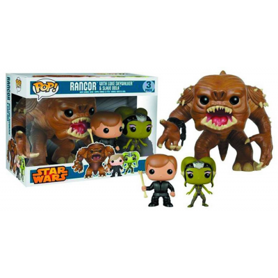 POP! Vinyl Figuren Dreierpack - Rancor, Luke Skywalker & Slave Oola 9 - 15 cm - Star Wars