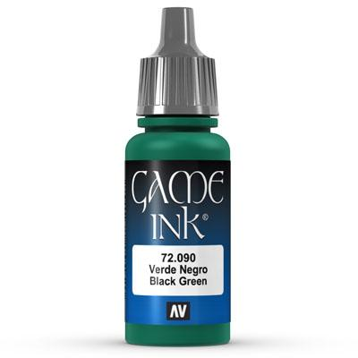 Vallejo Game Color Ink: 090 Ink Black Green, 17 ml