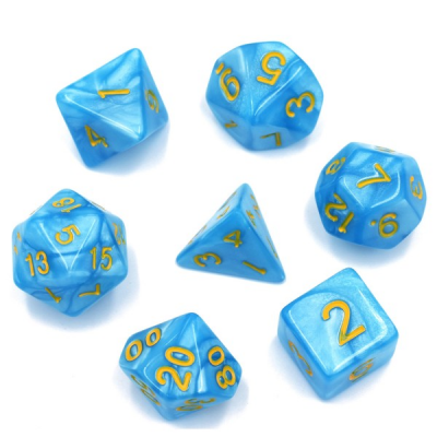HD Dice - Pearl Dice Set (7 pcs), Light Blue