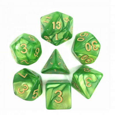 HD Dice - Pearl Dice Set (7 pcs), Light Green (Gold Font)