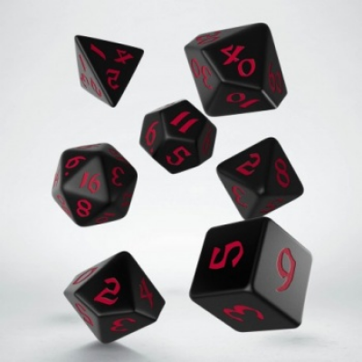 Classic Runic Black & red Dice Set (7)