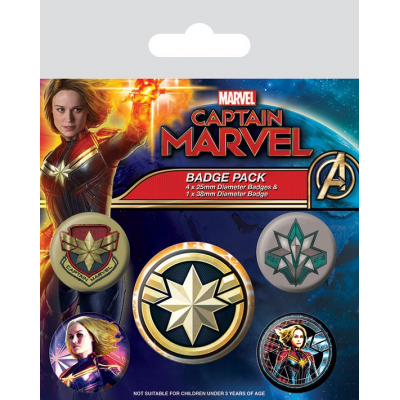 Captain Marvel Ansteck-Buttons 5er-Pack Patches