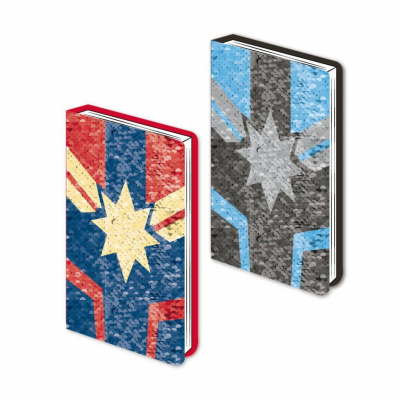 Captain Marvel Sequin Premium Notebook A5 Logo